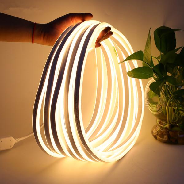 Luz de Tira conduzida 220 V SMD2835 120led / M À Prova D 'Água Iluminação Fada Flexível com Plugue de Alimentação Ao Ar Livre Decoração Do Festival Luzes de Néon