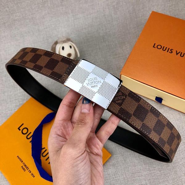 Novo Designer de Luxo Cintos de Marca Cinto para o Homem Mulher Nova Moda Cintos Casual Suave Fivela Sliver Fivela Largura 3.4 cm de Alta Qualidade com caixa