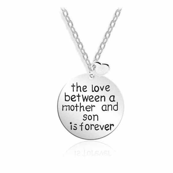 The Love Between a Mother And Son Alphabet Heart Pendant Necklaces Mothers Day Jewelry Gift Free Shipping