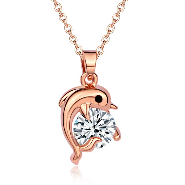 Heat Pin Rose Gold Ornaments Product Mix Women's Style Clavicle Chain Pendant Korean Edition Exquisite Small Dolphin Adornment