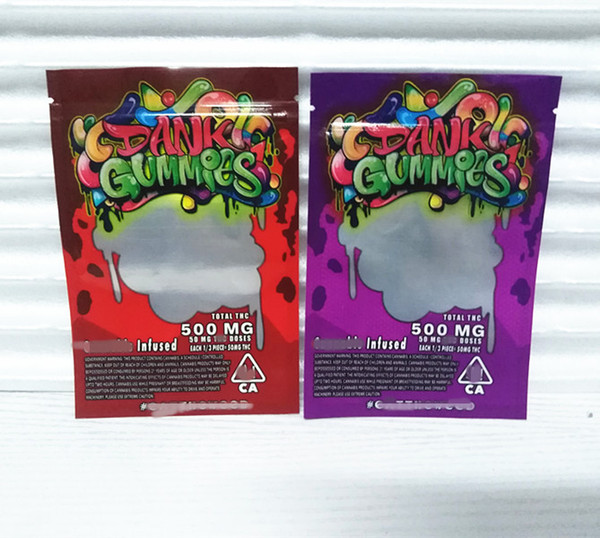top popular 2020 new edibles dank gummies bag with window 500mg plastic zipper edible packaging mylar smell proof bag 2020