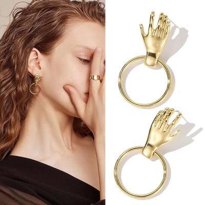 Gli orecchini di dichiarazione di tendenza di arte astratta Orecchini Oro Colore palma della mano ciondola gli orecchini ragazze di modo per monili delle donne E108
