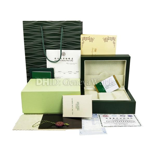 Frete Grátis Luxo Verde Assista Caixa Original Papers Cartão Bolsa Caixas De Presente Bolsa 185mm * 134mm * 84mm 0.7 KG Para 116610 116660 116710 Relógios