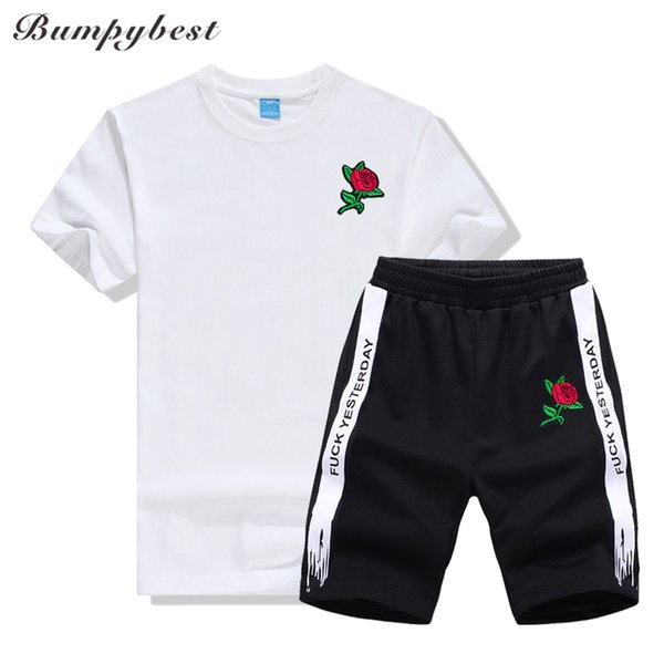 Bumpubeast Men's Sets Sportswear Mens Clothes 2018 New Tracksuit Loves Rose flower print tshirts Short Sleeve T Shirt+Shorts 3XL