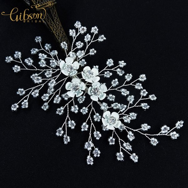 Wedding Party Barrette Clear Bead With Rhinestone Bridal Flower Barrettes Bridesmaid Headpiece Wedding Hair Clip for Girls