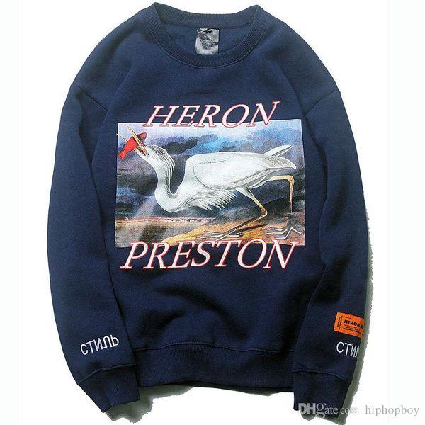 Heron Preston Hoodie Hip Hop Crane Print Sweatshirts Herren Damen Pullover Streetwear Heron Preston Designer Hoodies Schwarz Blau