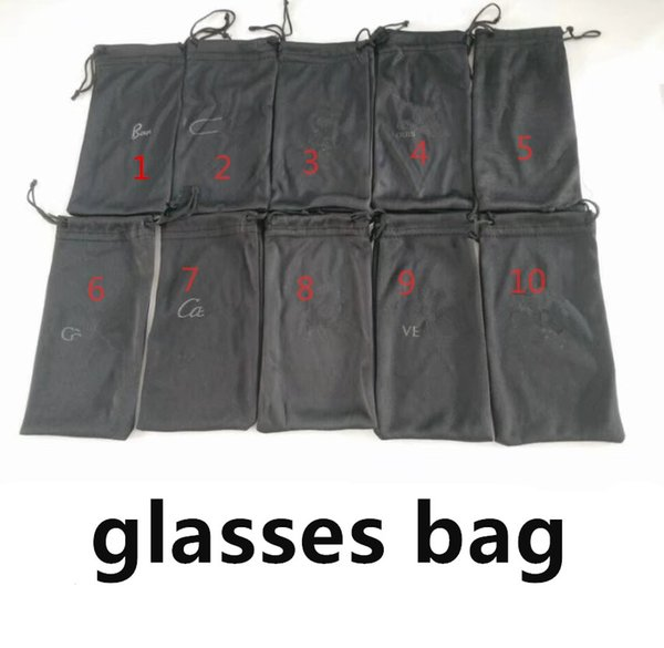 best selling 50pcs,Black bags for Sunglasses LOGO bags Brand quality Factory Price 10 color options suit for normal size Fast Ship