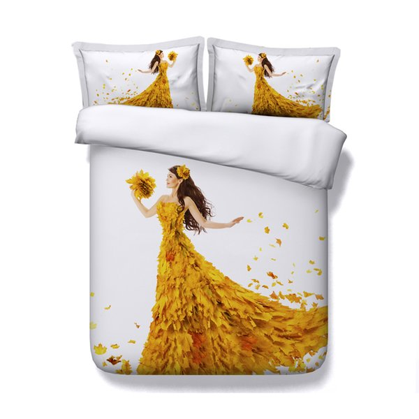 White coverlet Maple Leaf Bedspread Sea Bed Set 3D Comforter Cover Yellow 3 Piece Bedding Set With 2 Pillow Shams