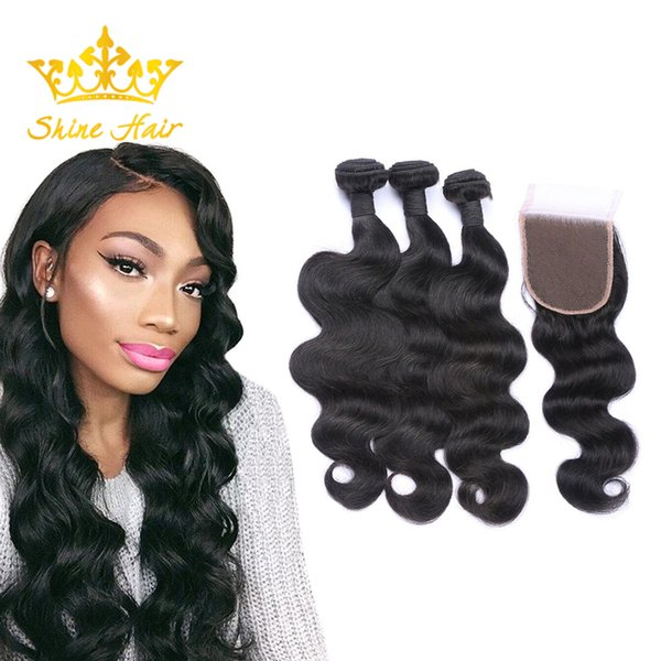 Shine Hair Brazilian Peruvian Indian Body Wave Human Hair Body Wave Natural Black Color Hair Weaves 3 Bundles With 4x4 Lace Closure