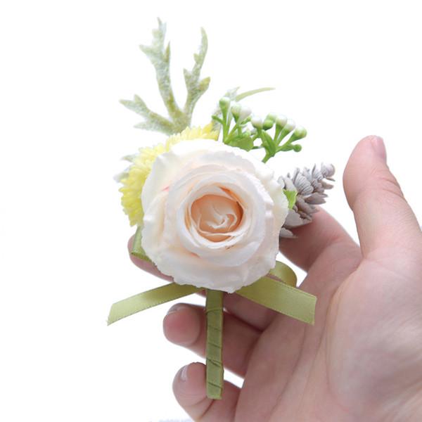 2019 Corsage Bridesmaid Bride Wrist Corsage Braccialetto Forniture Rose rosa Fiore da polso bianco Accessori da sposa