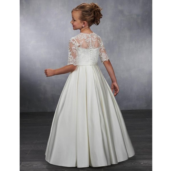2020 Hot Cute Flower Girl Dresses for Weddings Sheer Neck Lace Ball Gown Little Girls First Communion Pageant Gowns