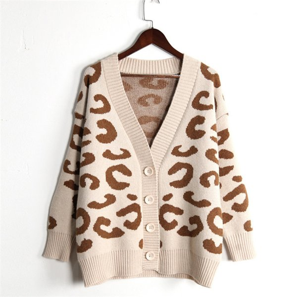 svokor leopard women's knitted jacket v-neck loose cardigans of large sizes trend splice women's sweater