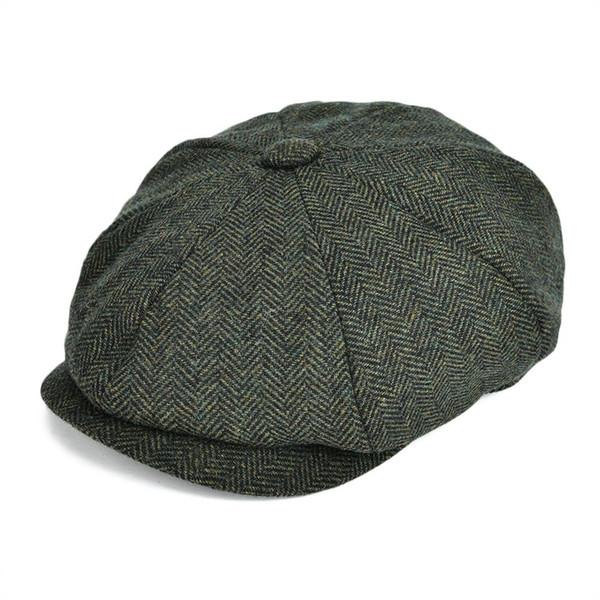 wholesale Woollen Tweed Newsboy Cap Men Hat Women Herringbone Mens Wool Blend Apple Caps Autumn Winter Eight Panel Cabbie Hats 131