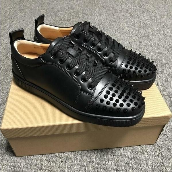 2019 Baskets basses de fond rouge pour les hommes de luxe mode noir en cuir Casual Hommes Femmes Chaussures Designer Chaussures causales gros L4