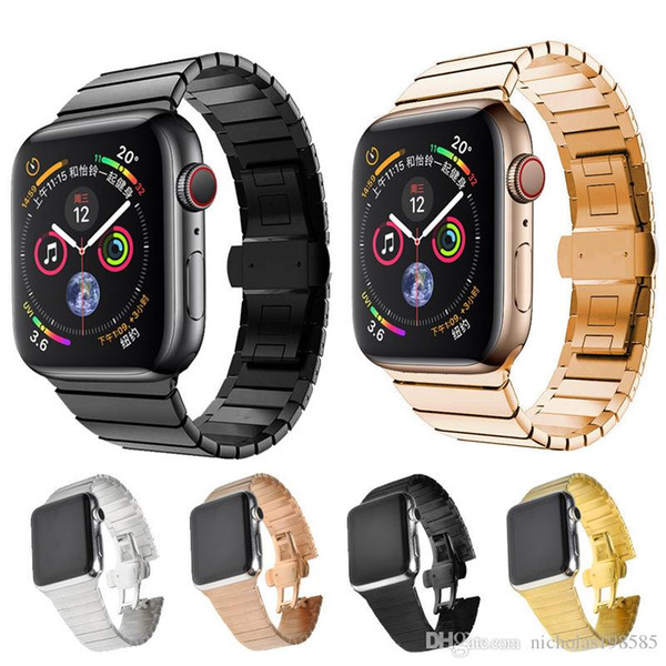Лучшие ремешки из нержавеющей стали ремешки для Apple Watch 4 3 2 1 Ссылка браслет для Iwatch 38/40 мм 42/44 мм бабочка Застежка замок ссылка полосы
