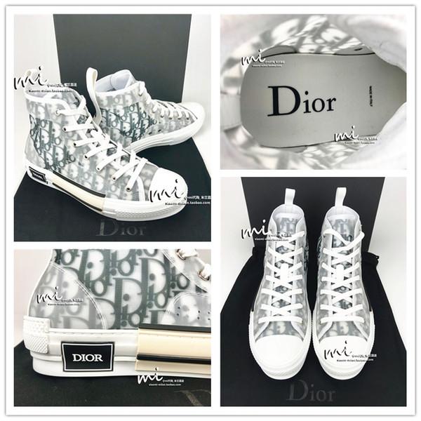 19Dior eğik Homme tarafından Kim Jones Erkekler Kadınlar Modacı Günlük Ayakkabılar Yüksek Top Sneakers Kaykay Ayakkabı Euro 35-45 Boyutu