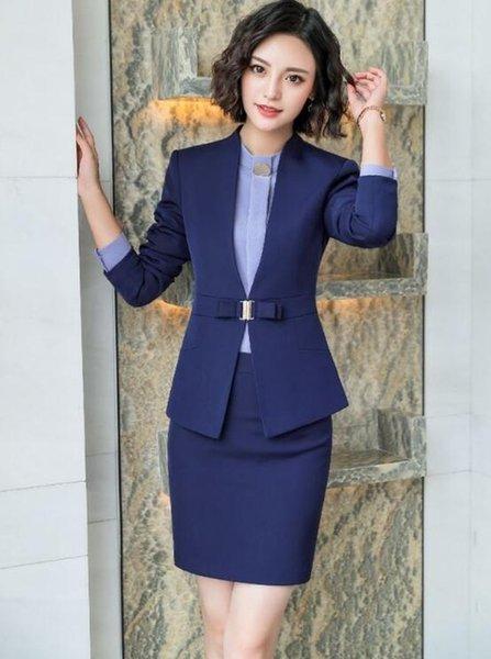 blue skirt suits