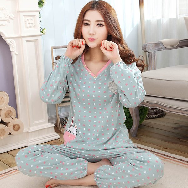 Free shipping women sleepwear M-4XL female long-sleeve cotton plus size women's lounge xxxl 4x Pajama Sets spring and autumn