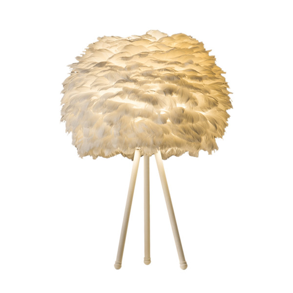Modern White Feathers Table Lamp Home Table Light Bedroom Bedside Hotel Boutique Creative Fashion Art Home Lighting E110