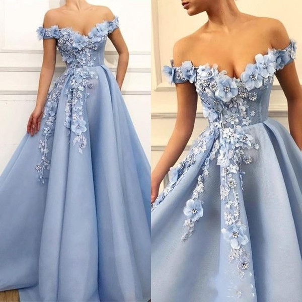 2019 New Sexy Light Blue Prom Dresses Off Shoulder Lace Appliques Hade Made  Flowers Beaded Open Back A Line Formal Party Dress Evening Gowns In Stock