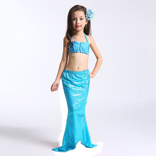 3PCS Little Mermaid Tails for Swimming Costume Mermaid Tail Cosplay Girls Swimsuit Kids Children Ruffles Beach Swimwear Clothes