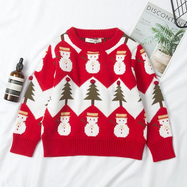 cf667e1e517 Navidad Bebé Niñas Suéter Otoño Primavera Niños prendas de punto Chicos  Pullover Suéter Muñeco de nieve de punto Ropa para niños