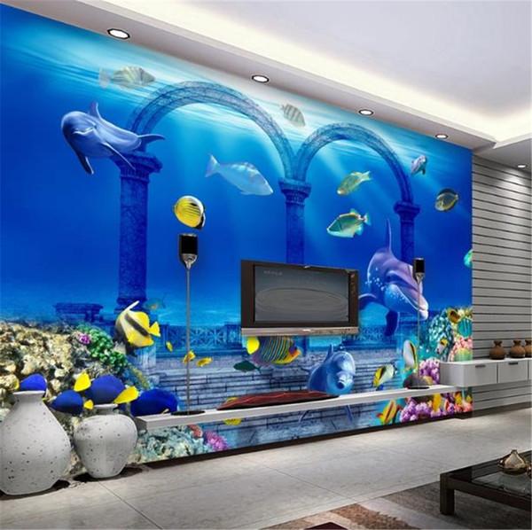3D Papel De Parede Subaquático Palácio 3D Dolphin Underwater World Sala Fundo Do Quarto Decoração Da Parede Papel De Parede