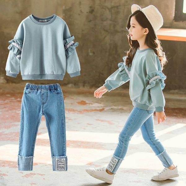 Girl Set Spring Autumn Kids Clothing Set 2019 Solid Sweatshirt + Jeans Pants 2 Pcs Teenage School Girls Lace Sleeves Tracksuit V191203