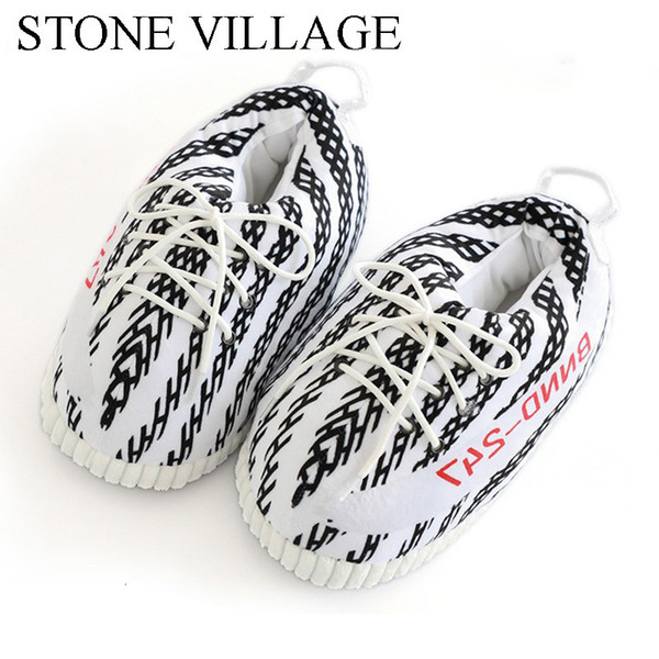 top popular STONE VILLAGE Large Size 43 Men And Women Thick Non-Slip Coconut Cotton Slippers Warm Home Slippers Bread Shoes Cut Fat Shoes SH190925 2020