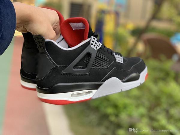 Lanzamiento 4 zapatos de baloncesto Bred Negro cemento clásicos zapatos auténticos hombres IV cumbre deportes blanco gris de las zapatillas de deporte de fuego rojo con la caja US 7-13