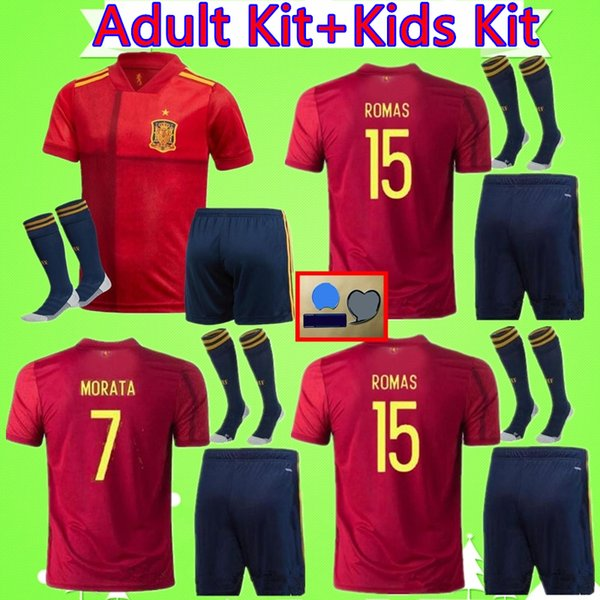 best selling ADULT + KIDS KIT 2020 2021 Spain soccer jersey mans suit 20 21 Camiseta de futbol ASENSIO MORATA boys set football shirt ISCO RAMOS INIESTA