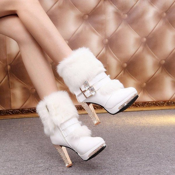Lucky2019 Mujeres Snow Warm Red Bottom Half Boots White Leather Tacón grueso Martin Booties Large 35-40 con pelaje