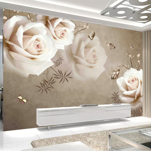 Custom 3d Wall Mural Vintage White Rose Wallpaper Living Room Bedroom Romantic Home Decor Painting Papel De Parede Sala 3d Mural Free Animated