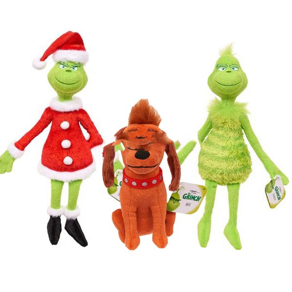 The Grinch Plush Toy Grinch With Santa Hat Max Cartoon New Year Christmas Stuffed Doll Toy Kids Gift 16cm-37cm