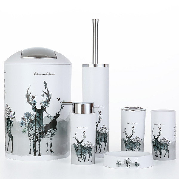 Nordic 6pcs/set Printing Bathroom Accessory Set Lotion Dispenser Toothbrush Holder Tumbler Cup Soap Dish Toilet Brush Trash Can Q190610