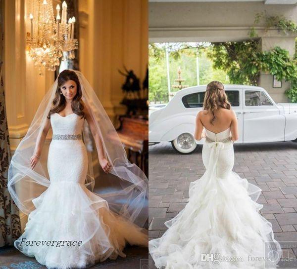 2019 арабский стиль милая Русалка свадебное платье кружевной лиф ярусные оборки юбка длинный сад формальное свадебное платье плюс размер на заказ