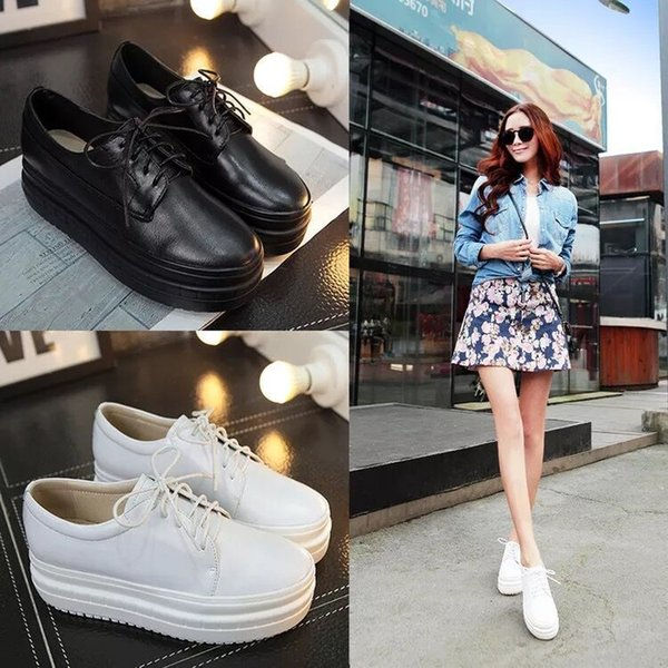 Unique2019 Market The For Solid Color Bandage Thick Bottom Shallow Mouth Cowhide Low Help Woman Genuine Leather Shoe Of Sponge Cake Small
