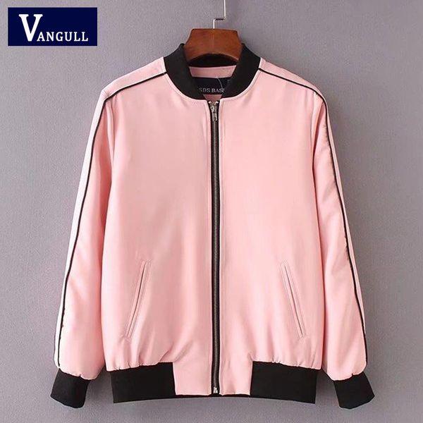 Женщины сладкий розовый пиджак бейсбол равномерное пальто стиль дамы элегантный воротник стойка с длинным рукавом осень зима пиджаки VANGULL 2018