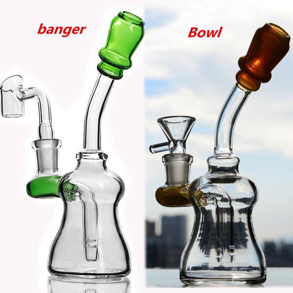 Небольшие стеклянные масляные буровые установки Bongbler Толстые стеклянные водяные бонги для курящих стеклянных трубок Уникальные кальяны Bong Chicha с 14 мм 7,5 дюймов
