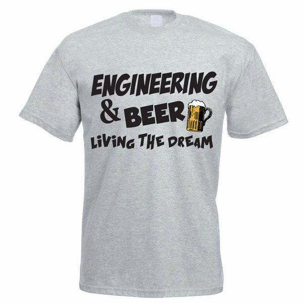 Lustiges Ingenieur-T-Shirt - ENGINEERING UND BIER - Männer / Vatis T-Shirt Geschenkidee Lustiges freies Verschiffen Unisex-beiläufiges T-Shirt
