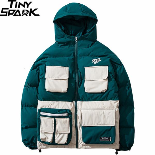 2019 Kış Streetwear Hip Hop Ceket Parka yastıklı Erkekler Harajuku Renk Bloğu Trençkot Kapşonlu WINDBREAKER Oversize Dış Giyim Yeni CJ191129