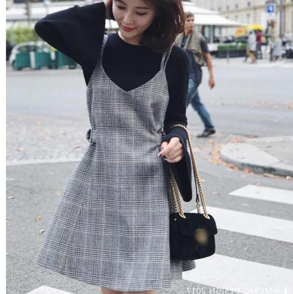 Cheapest new women's temperamentsweet small fragrance strap woolen hair slim bottoming dress