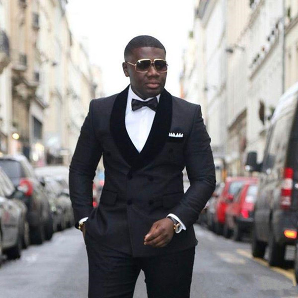 Stilvolles Design Bräutigam Smoking Zweireiher Schwarzer Schal Revers Groomsmen Best Man Anzug Herren Hochzeitsanzug (Jacke + Hose + Krawatte) XF235