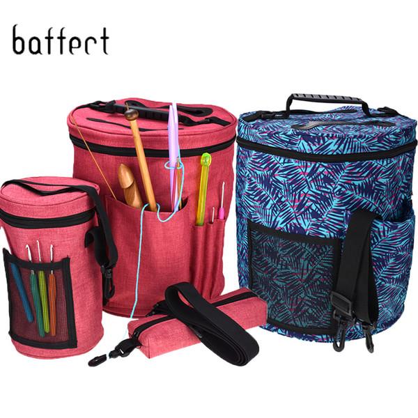 Knitting Yarn Storage Bag Bucket Sewing Kit Bag Yarn Drum Women's Crochet Hook Thread Pouch Round Knitting Crochet Tote