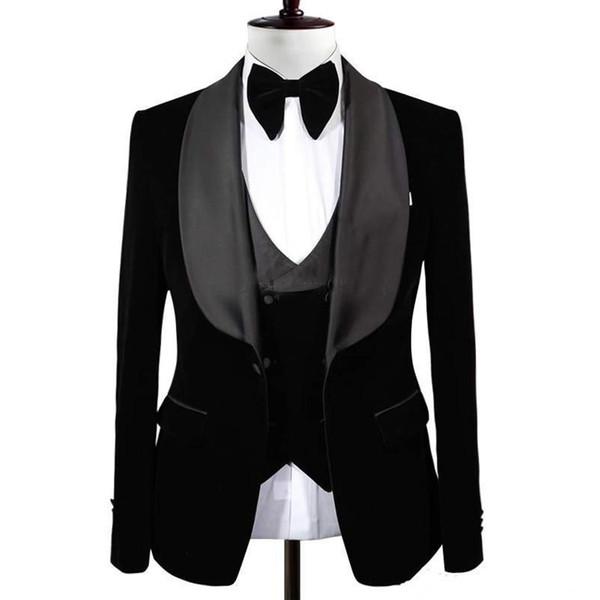New Popular Black Groom Tuxedos Shawl Lapel One Button Men Suits Wedding/Prom/Dinner Best Man Blazer(Jacket+Vest+Pants)