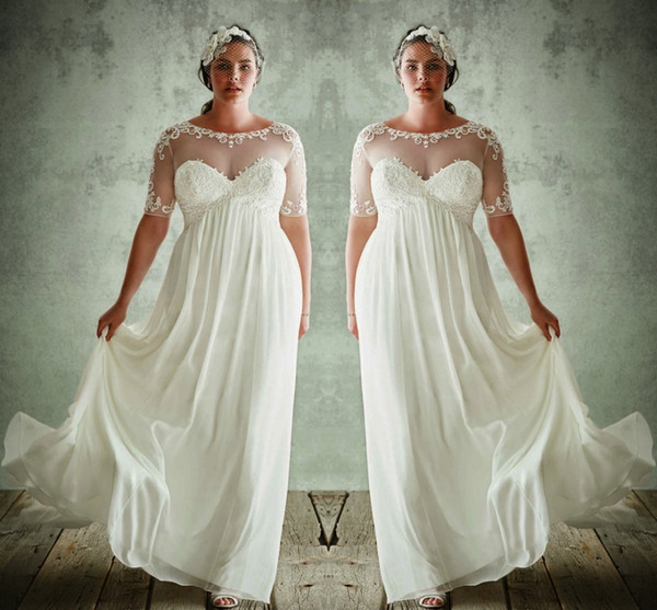 Discount Fashion Plus Size Wedding Dresses With Half Sleeves Sheer Jewel  Neck A Line Lace Appliqued Bridal Gowns Chiffon Empire Waist Wedding Dress  ...