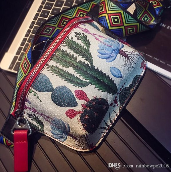 outlet brand men handbag street fashion cactus print lovers shoulder bag large capacity leather fashion chest bag personality men messeng