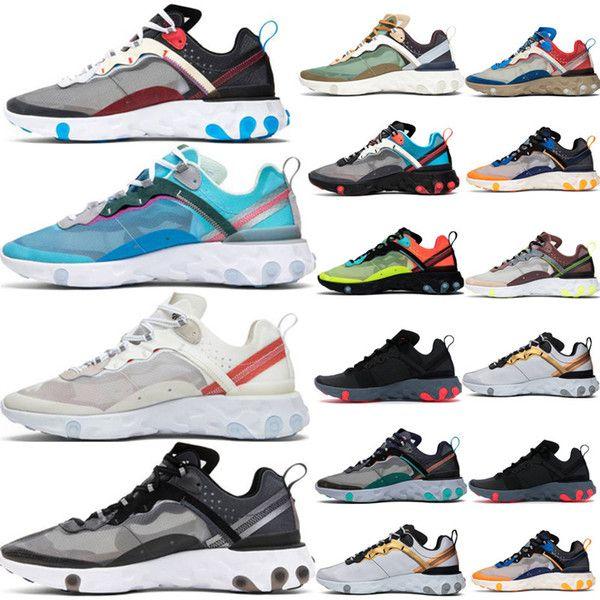 2019 React Element 87 55 running shoes mens Moss white black Royal Tint Desert Sand Hyper Fusion women breathable sports sneaker size 36-45