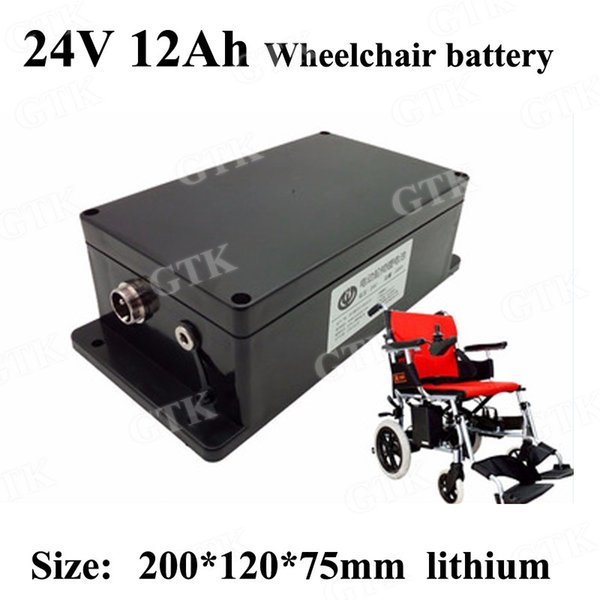GTK 24v 12ah lithium Side-mounted wheelchair batteries pack 24 v 12ah for 350w elecritc wheelchair Electric scooter + 3A charger