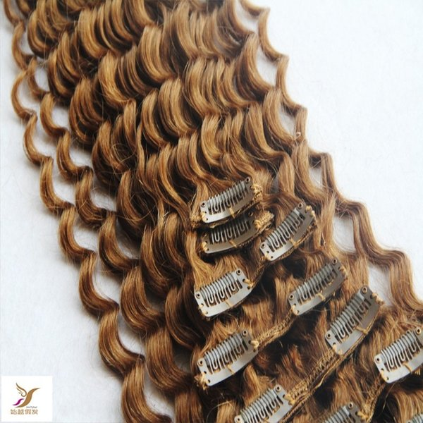 Strawberry Blonde Color Clips In Brazilian Human Hair Extensions 100g 7pcs/Set Clip Ins Malaysian Remy Hair Extensions 10-30 Inchs Deep Wave